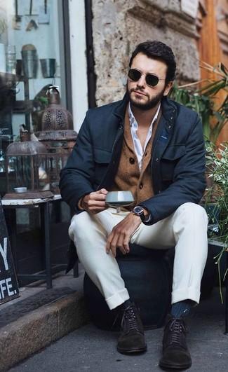 How to wear: white dress pants, white dress shirt, brown shawl cardigan, black field jacket