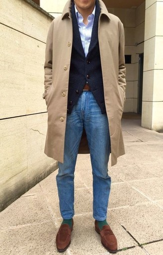 How to wear: blue jeans, light blue vertical striped dress shirt, black shawl cardigan, camel overcoat