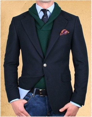 How to wear: blue jeans, light blue dress shirt, dark green shawl-neck sweater, black blazer