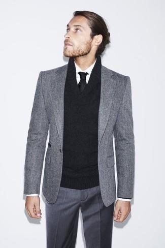 953c5b59e0f0 How to wear: charcoal dress pants, white dress shirt, black shawl-neck