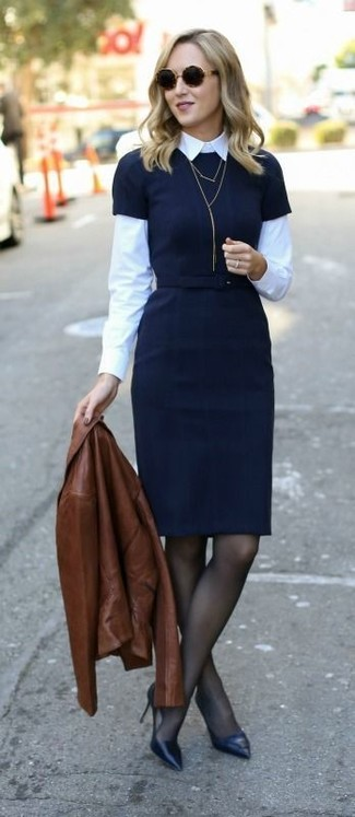 How to wear: black leather pumps, white dress shirt, black sheath dress, brown leather biker jacket