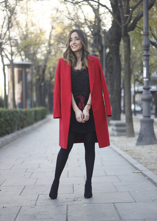 How to wear: black suede ankle boots, red and black plaid dress shirt, black embellished sheath dress, red coat