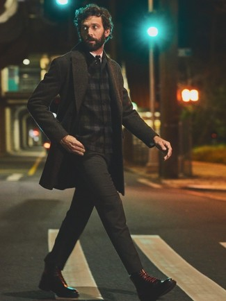 How to wear: charcoal chinos, white dress shirt, black plaid flannel shirt jacket, charcoal overcoat