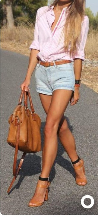 How to wear: pink vertical striped dress shirt, light blue denim shorts, tan leather heeled sandals, tobacco leather tote bag