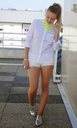 Women's White Dress Shirt, White Shorts, White Denim Shorts ...