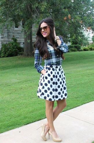 How to wear: blue plaid dress shirt, white and navy polka dot skater skirt, beige leather pumps, brown leopard sunglasses