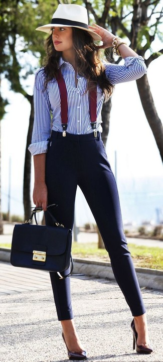 A white and blue striped button-up shirt and deep blue slim pants teamed together are a total eye candy for those who prefer classy styles. Look at how well this ensemble goes with dark purple leather pumps. Warmer temperatures call for cooler ensembles like this one.