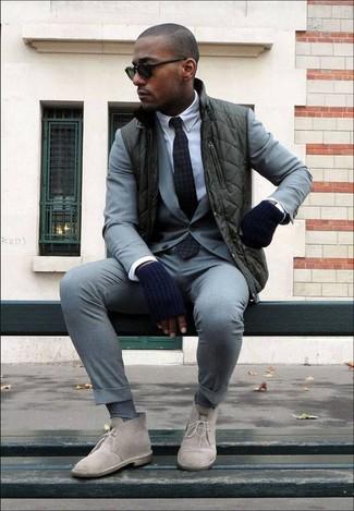 How to wear: beige suede desert boots, white dress shirt, grey suit, dark green gilet