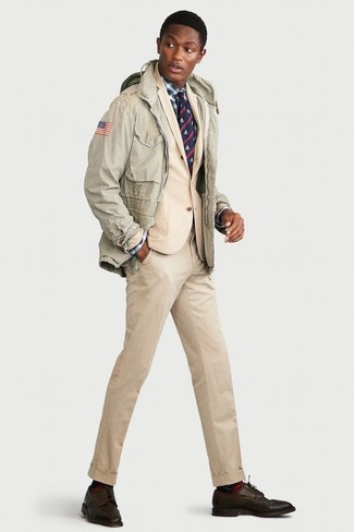 How to wear: dark brown leather derby shoes, white and navy plaid dress shirt, beige suit, mint military jacket