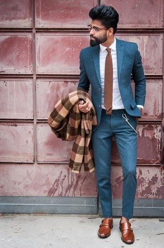 How to wear: brown leather double monks, white dress shirt, teal suit, brown plaid overcoat