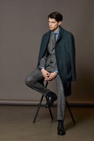 How to wear: black leather tassel loafers, blue dress shirt, grey plaid wool suit, teal overcoat