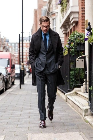 How to wear: dark brown leather double monks, blue chambray dress shirt, charcoal wool suit, charcoal overcoat