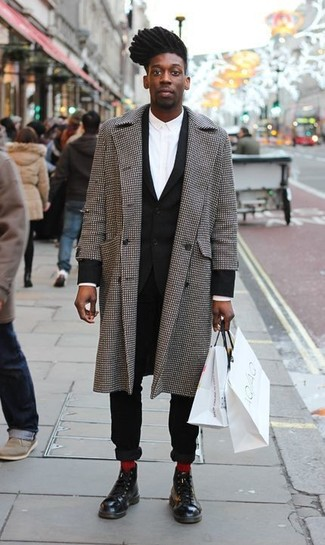 How to wear: black leather casual boots, white dress shirt, black suit, grey gingham overcoat