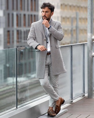 How to wear: brown leather tassel loafers, white dress shirt, grey suit, white houndstooth overcoat