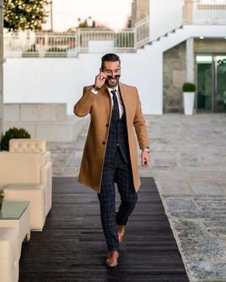 How to wear: brown leather oxford shoes, white dress shirt, navy check suit, camel overcoat