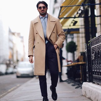 How to wear: black leather derby shoes, light blue dress shirt, navy suit, camel overcoat