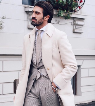 How to wear: beige tie, white dress shirt, beige gingham suit, beige overcoat
