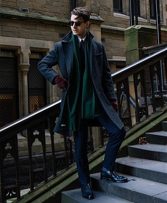 How to wear: navy leather brogues, white dress shirt, navy vertical striped suit, navy overcoat