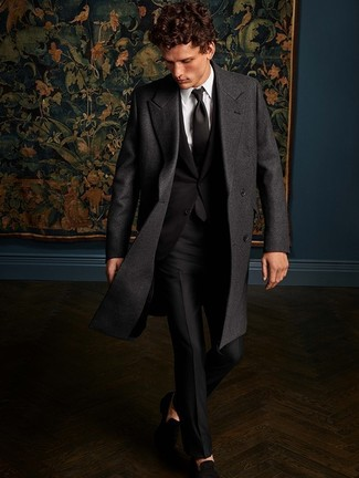 How to wear: black suede loafers, white dress shirt, black suit, charcoal overcoat