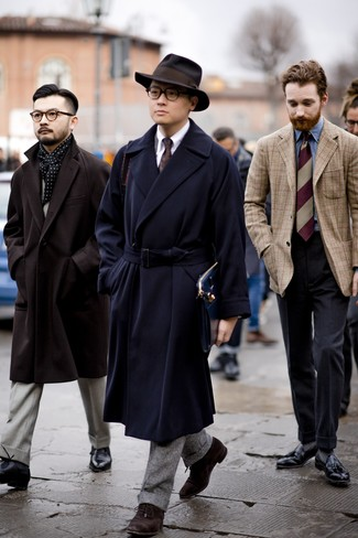 How to Wear a Dark Brown Wool Hat For Men: Wear a navy overcoat and a dark brown wool hat to assemble an interesting and current bold casual ensemble. Finishing off with dark brown suede oxford shoes is an effective way to add a little depth to this look.