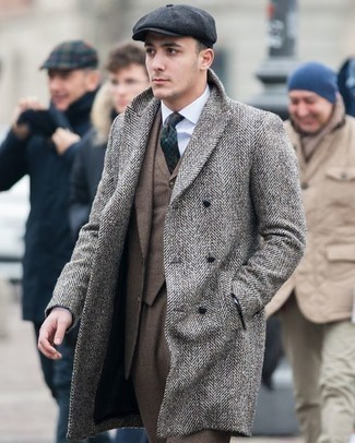 How to Wear a Grey Herringbone Overcoat: Reach for a grey herringbone overcoat and a brown suit to be the definition of classy men's style.