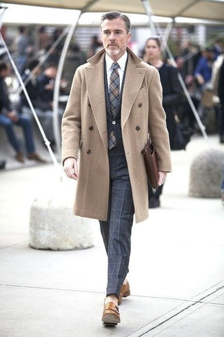 How to wear: tan leather double monks, white dress shirt, navy check suit, camel overcoat