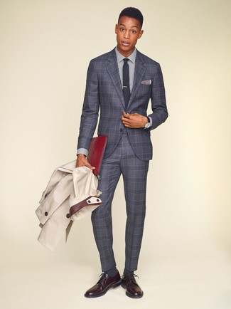 How to wear: burgundy leather derby shoes, white and navy vertical striped dress shirt, grey plaid suit, beige trenchcoat
