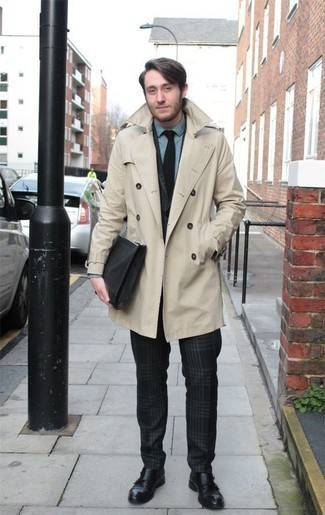 How to Wear Black Leather Double Monks: A beige trenchcoat looks so refined when teamed with a dark green plaid suit in a modern man's combo. Complement this look with a pair of black leather double monks for maximum effect.