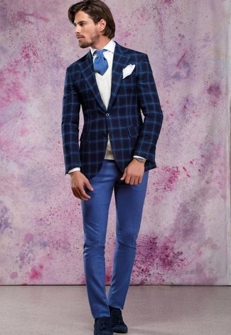 How to wear: blue dress pants, white dress shirt, white sweater vest, navy check wool blazer