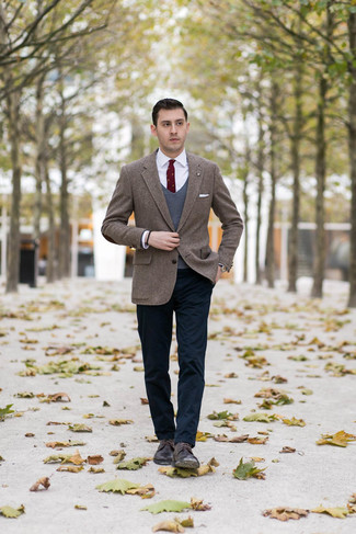 How to wear: navy chinos, white dress shirt, charcoal sweater vest, brown herringbone tweed blazer