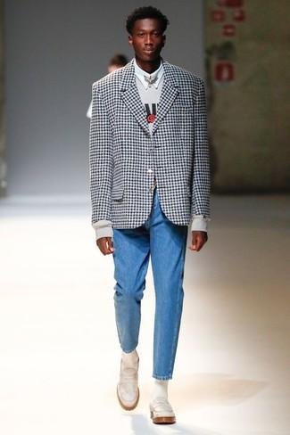 How to wear: blue jeans, white dress shirt, grey print sweatshirt, black and white gingham blazer