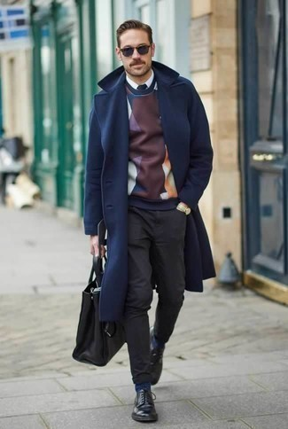 How to Wear Charcoal Chinos: You'll be amazed at how easy it is for any gent to put together this casually classic look. Just a navy overcoat and charcoal chinos. Black leather derby shoes add a sophisticated aesthetic to the look.