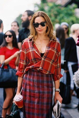 How to wear: red plaid dress shirt, black tank, red plaid pencil skirt, black leather satchel bag