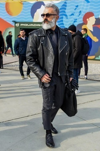 How to Wear Black Leather Derby Shoes: For an effortlessly classic look, try teaming a black leather biker jacket with a navy vertical striped three piece suit — these pieces work really good together. Finish off with a pair of black leather derby shoes to add a little kick to the ensemble.