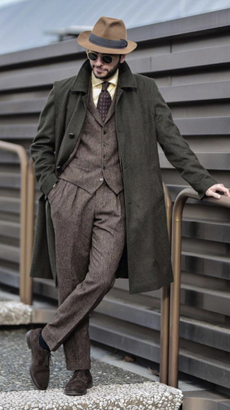 How to wear: dark brown suede derby shoes, yellow dress shirt, brown wool three piece suit, olive overcoat