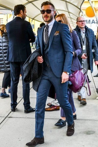 How to Wear Dark Brown Suede Double Monks: For an ensemble that's nothing less than wow-worthy, dress in a navy check overcoat and a blue three piece suit. Introduce dark brown suede double monks to the mix to make a traditional outfit feel suddenly edgier.