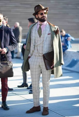 How to Wear a Brown Wool Hat For Men: If you put function above all else, this off-duty combo of a mint check overcoat and a brown wool hat is your go-to. And if you need to immediately step up this look with one item, introduce dark brown suede double monks to your ensemble.