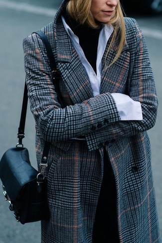 How to wear: black dress pants, white dress shirt, black turtleneck, grey plaid coat