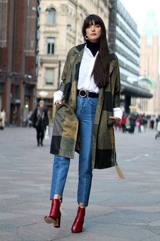 How to wear: blue jeans, white dress shirt, black turtleneck, olive coat