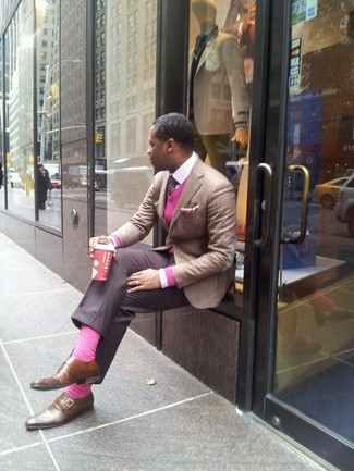 How to wear: grey dress pants, white dress shirt, hot pink v-neck sweater, tan vertical striped blazer
