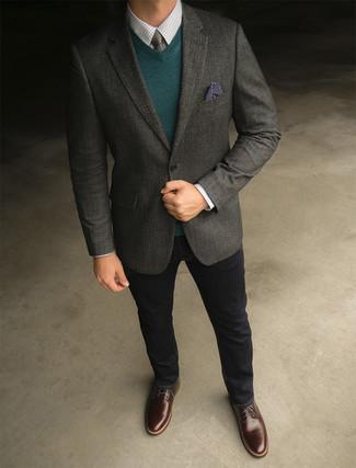 How to wear: black jeans, white check dress shirt, dark green v-neck sweater, charcoal wool blazer