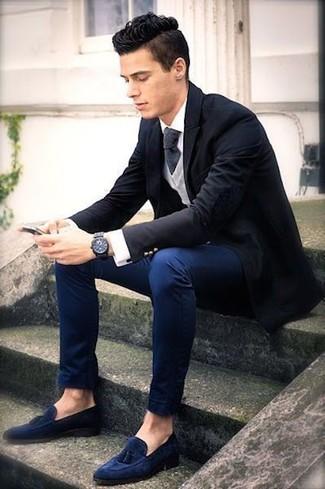 How to wear: navy chinos, white dress shirt, grey v-neck sweater, black blazer