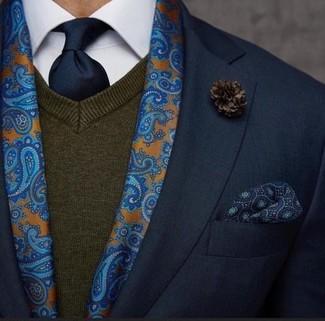 How to wear: navy tie, white dress shirt, dark brown v-neck sweater, black blazer