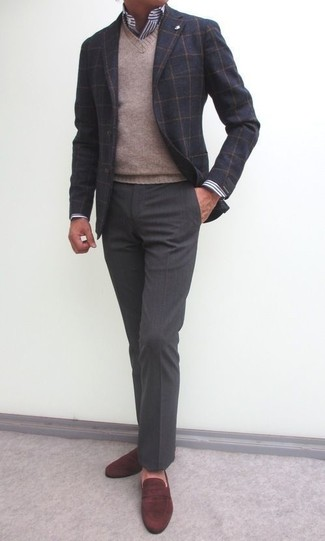 How to wear: charcoal dress pants, white and navy vertical striped dress shirt, tan v-neck sweater, charcoal check wool blazer
