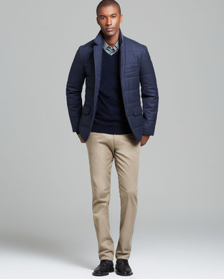How to wear: khaki chinos, mint dress shirt, black v-neck sweater, charcoal quilted blazer