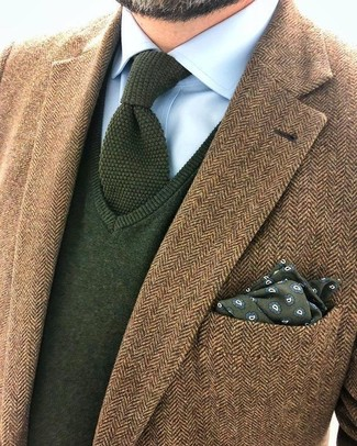 How to wear: olive knit tie, light blue dress shirt, olive v-neck sweater, brown herringbone wool blazer