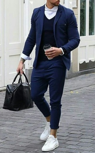 How to wear: navy chinos, white dress shirt, navy v-neck sweater, navy blazer