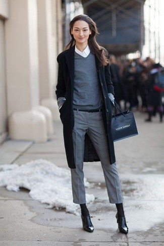 How to wear: grey dress pants, white dress shirt, grey v-neck sweater, black coat