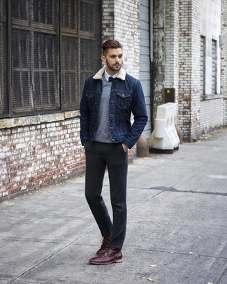 How to wear: charcoal dress pants, white dress shirt, grey v-neck sweater, navy denim jacket