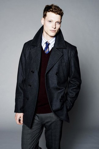 How to wear: charcoal plaid dress pants, white vertical striped dress shirt, burgundy v-neck sweater, charcoal pea coat